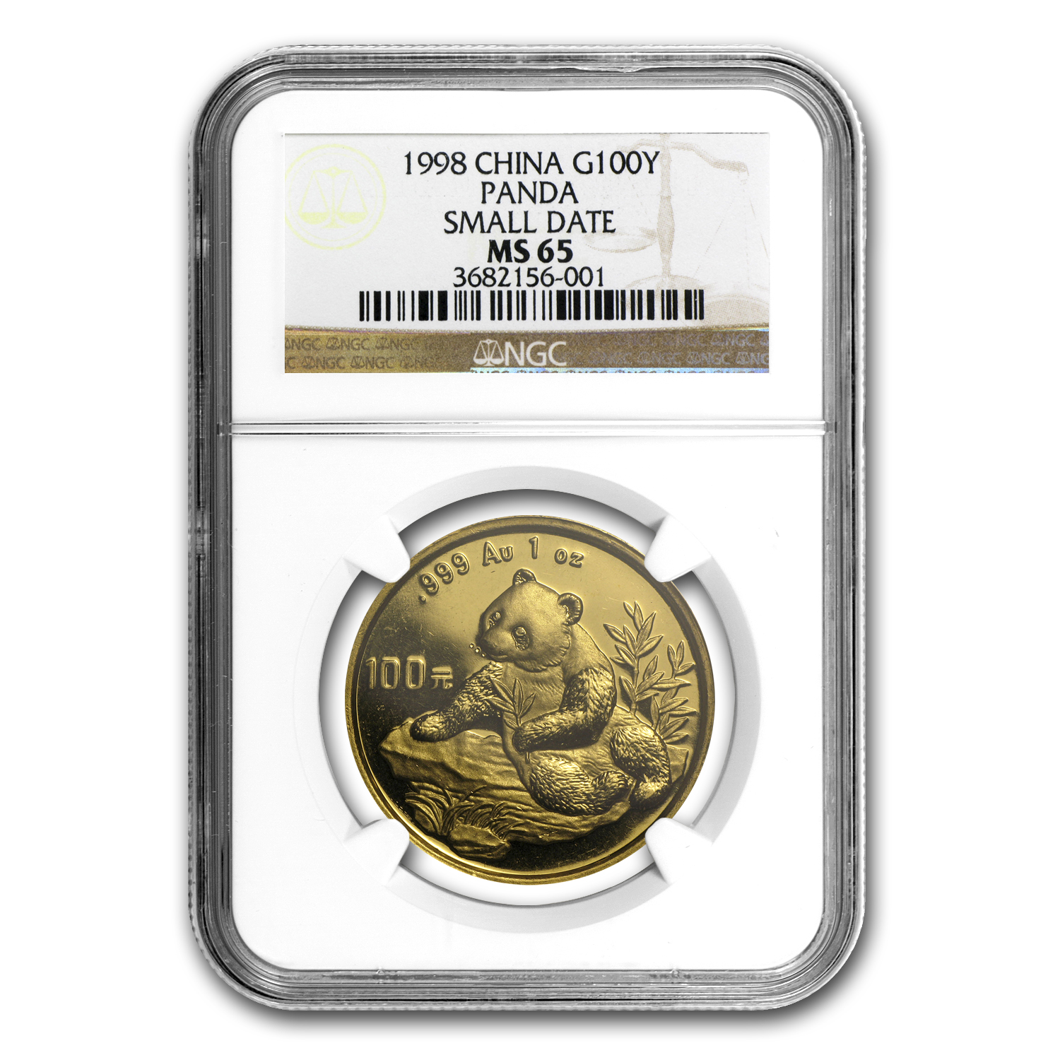 1998 China 1 oz Gold Panda Small Date MS-65 NGC